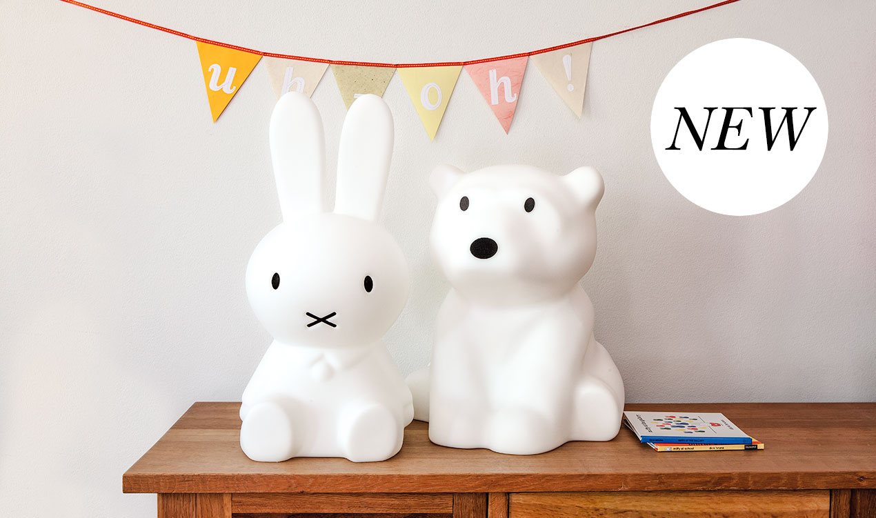 Indie styled product selection with Miffy and Nanuk table lamps.