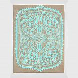 Polish Folk Art Floral Screen Print - Teal on Natural Kraft Paper - made in Sydney by laikonik