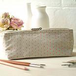 Linen Pencil Case - Pink Triangle Print