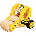 Wooden Yellow Construction Roller Truck with Driver designed in Australia by Fun Factory