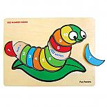 Wooden Raised Silkworm Numbers Jigsaw Puzzle designed in Australia by Fun Factory
