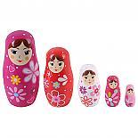 Pink Wooden Nesting Doll 5 Piece Babushka designed in Australia by Fun Factory