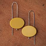 Oval Earrings - Resin - Mustard - designed in Australia by mooku