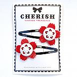 Red & White Flower Hair Clips by Cherish Vintage Treasures