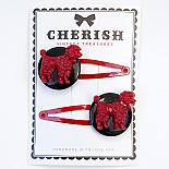 Red & Black Poodle Hair Clips by Cherish Vintage Treasures