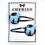 Metallic Blue & Black Poodle Hair Clips by Cherish Vintage Treasures