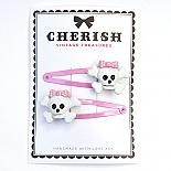 Pink & White Skull Hair Clips by Cherish Vintage Treasures