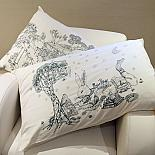 Bunny & Treehouse Pillow Case Set - Blue on Cream by Sunday Morning Designs