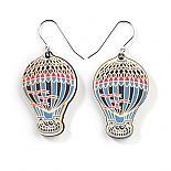 Wooden Hot Air Balloon Earrings - Blue Multicolour by Polli