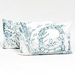 Dolphin & Turtle Pillow Case Set - Blue on Cream by Sunday Morning Designs