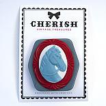 Blue & Red Pony Brooch by Cherish Vintage Treasures