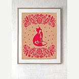 Folk Art Fox Screen Print - White on Natural Kraft Paper - made in Sydney by laikonik