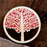 Elm Wooden Brooch - Red
