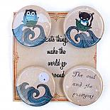 Owl and Pussycat Badge Set on Cute Card by Bob Boutique