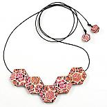 Wooden Patchwork Bead Necklace Warm Colours by Polli