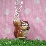 Squirrel Pendant on Silver Chain by Meow Girl