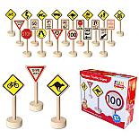 Wooden Traffic Signs 21 Piece Set designed in Australia by Fun Factory