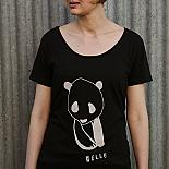 Black Hello Panda Womens T-shirt designed and made in Australia by me and amber