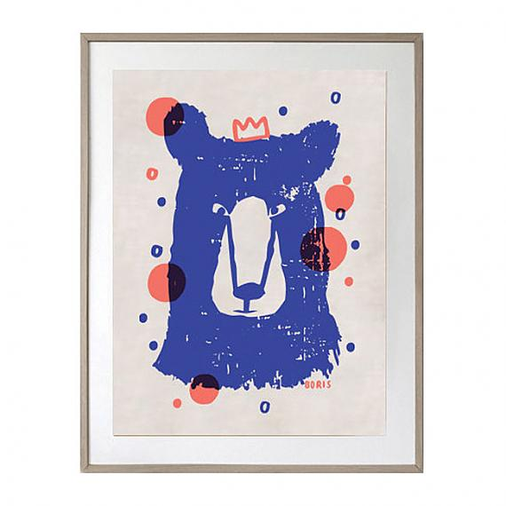 Boris the Bear Cotton|Linen Limited Edition Art Tea Towel - designed in Australia by Laikonik