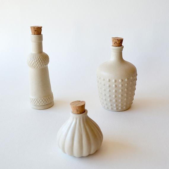 Sea Anemone Ceramic Bottle Cream Matte Indie Art Amp Design