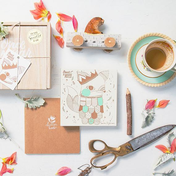 New Baby Journal - Once a Year Photo Book in Wooden Box - Mint Fox - designed in Australia by laikonik