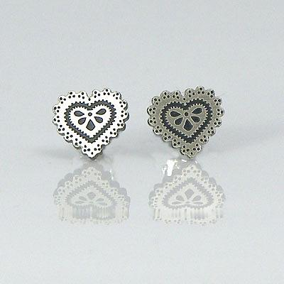 Heart Studs - Black & Brushed Nickel by a skulk of foxes
