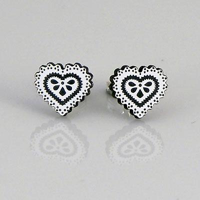 Heart Studs - White & Black by a skulk of foxes