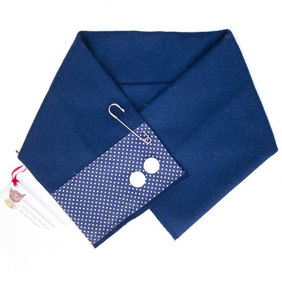 Blue Wrap with White Buttons by Button Tree