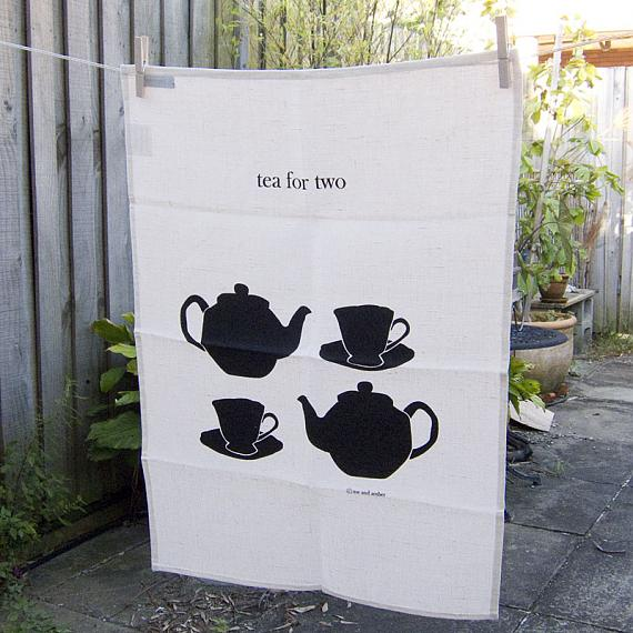Tea For Two linen tea towel by me and amber