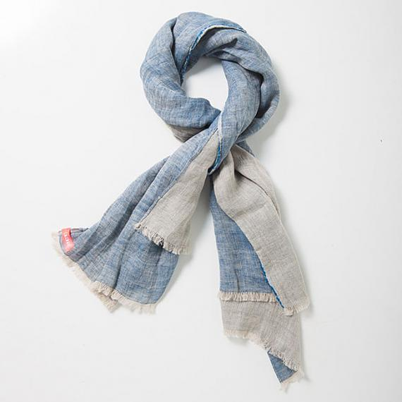 Pure Linen Two-toned Unisex Scarf - Agate | Indigo - designed in Australia by Laikonik
