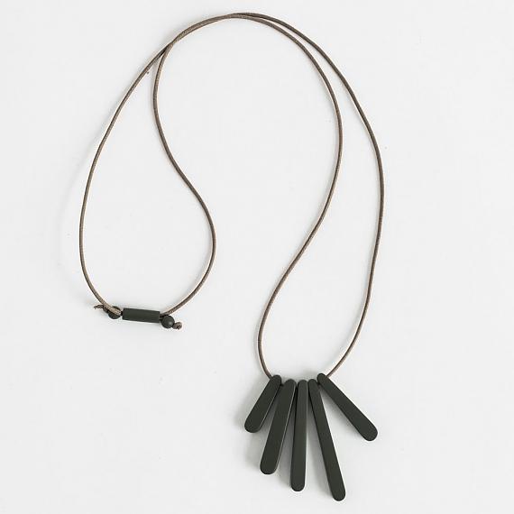 Bloom Necklace - Black Resin - handmade in Melbourne by mooku