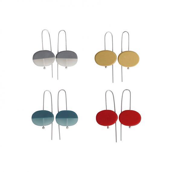 Oval Earrings - Resin | Silver - handmade in Melbourne by mooku