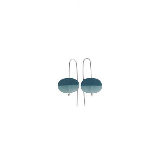 Oval Earrings - Resin | Silver - Steel Blue handmade in Melbourne by mooku