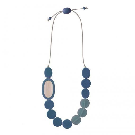 Resin Pebble Necklace - Steel Blue | Bamboo, designed in Melbourne by mooku