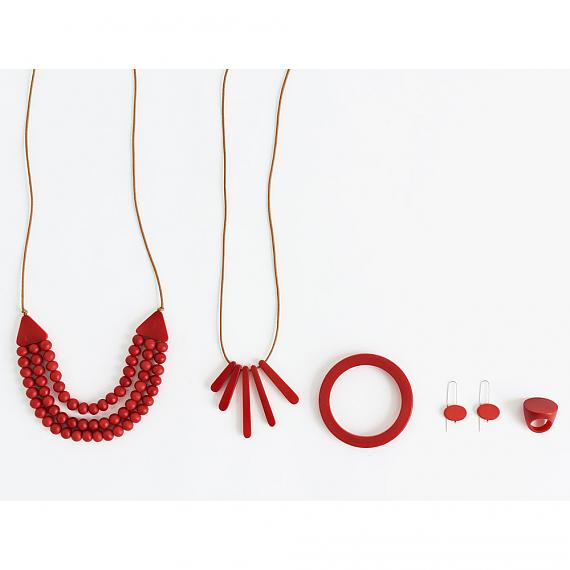 mooku jewellery designs in red resin - handmade in Melbourne by mooku