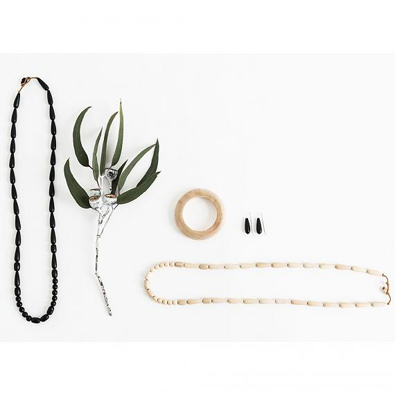 Jewellery including th Seed Necklace in Black handmade in Melbourne by mooku