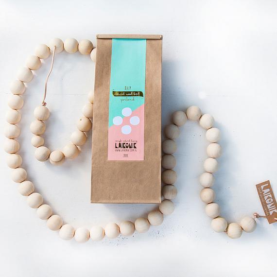 DIY Natural Wood Bead Garland made in Australia by laikonik