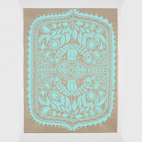 Polish Folk Art Floral Screen Print - Teal on Natural Kraft Paper - made in Sydney by laikonik