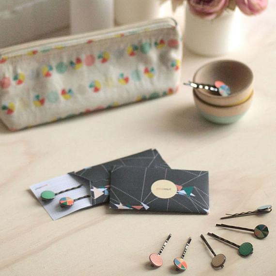 Mismatch Enamel Hairslides by Love Hate