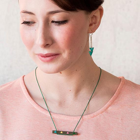 Triangle Wood Enamel Necklace by Love Hate