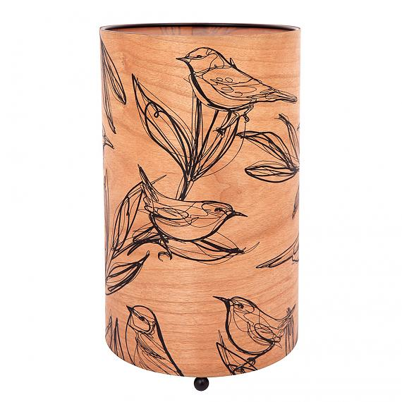 Sketch Bird Cylinder Cherry Wood Table Lamp Turned OFF - designed in Australia by Micky & Stevie