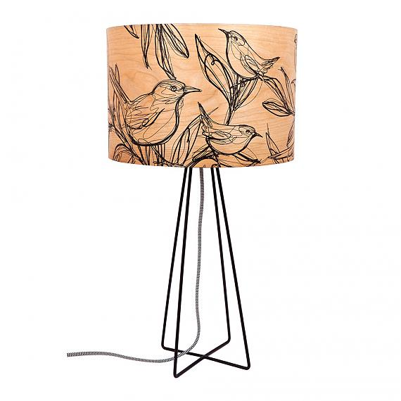 Sketch Bird Table Lamp with Black Wire Base (Turned OFF) - designed in Australia by Micky & Stevie