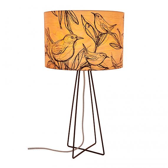 Sketch Bird Table Lamp with Black Wire Base (Turned ON) - designed in Australia by Micky & Stevie