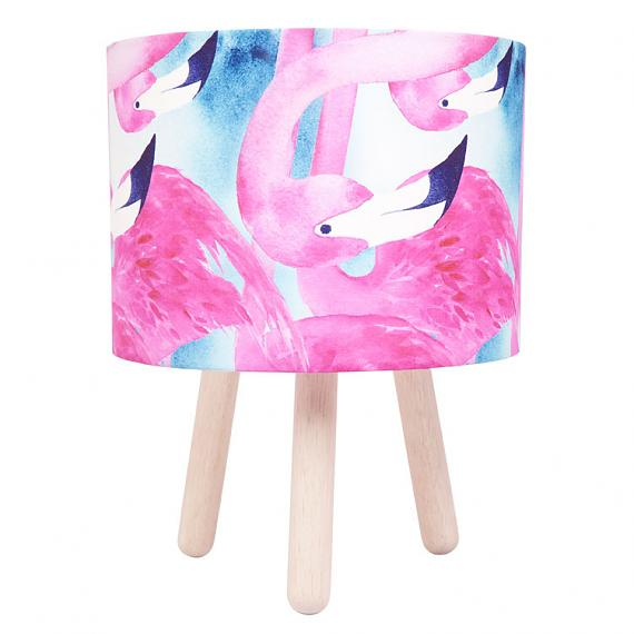 Flamingo Fabric Table Lamp - Wooden Legs - designed in Australia by Micky & Stevie