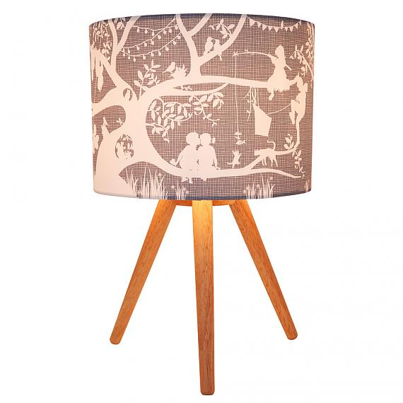 Treehouse Grey Fabric Table Lamp (Turned ON) - designed in Australia by Micky & Stevie