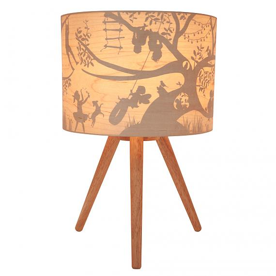 Treehouse Timber Table Lamp (Turned ON) - designed in Australia by Micky & Stevie
