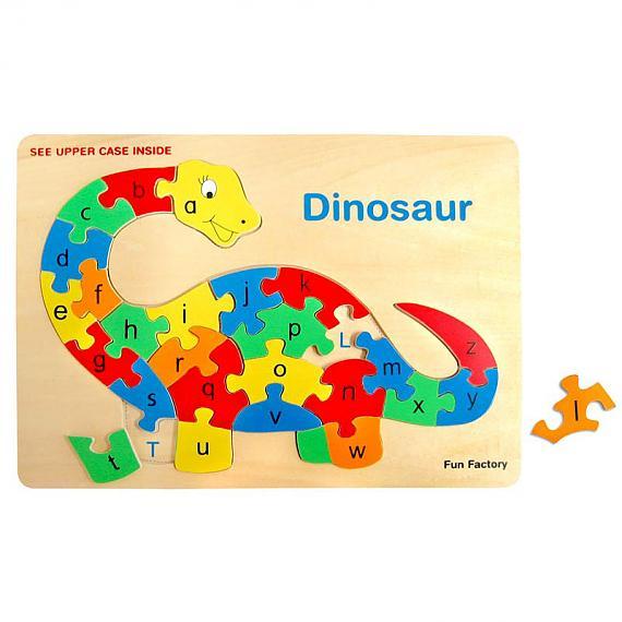 Wooden Raised Alphabet Dinosaur Jigsaw Puzzle designed in Australia by Fun Factory