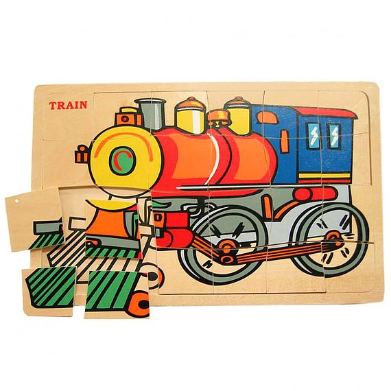 Wooden 24 Piece Train Jigsaw Puzzle designed in Australia by Fun Factory