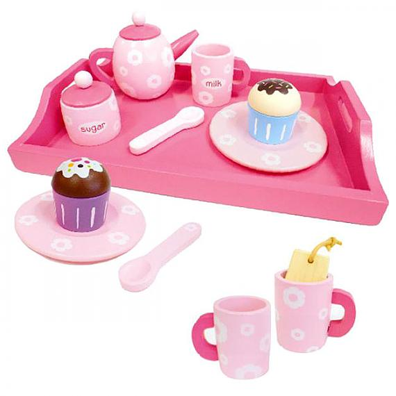 17 Piece Pink Wooden Afternoon Tea Set with Tray designed in Australia by Fun Factory