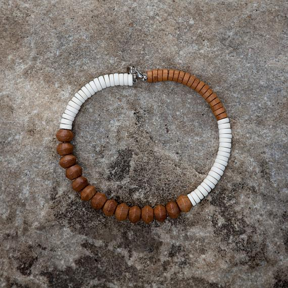Mrytle Short Necklace - White | Natural - designed in Australia by mooku